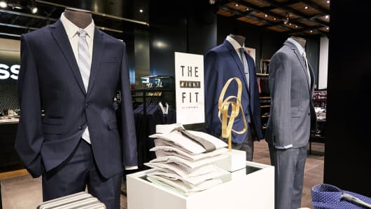Men can customize their own suits at the store.