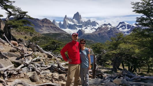 Patrick Pichette with his wife in Patagonia