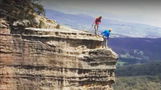 Pichette went rock climbing in Australia