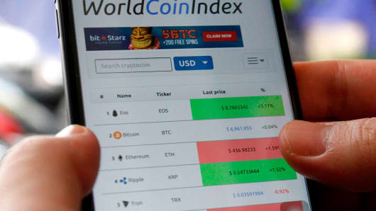 A cryptocurrency investor looking at a 'world coin index' on a smartphone.