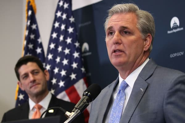 House Majority Leader (R-CA) Kevin McCarthy speaks while flanked by House Speaker Paul Ryan (R-WI) during news conference on February 14, 2017 in Washington, DC.