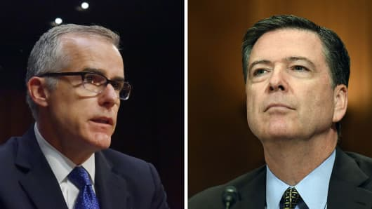 Andrew McCabe, left, and James Comey.