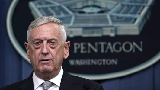 Defense Secretary Jim Mattis briefs members of the media on Syria at the Pentagon April 13, 2018 in Arlington, Virginia. President Donald Trump has ordered a joint force strike on Syria with Britain and France over the recent suspected chemical attack by Syrian President Bashar al-Assad.