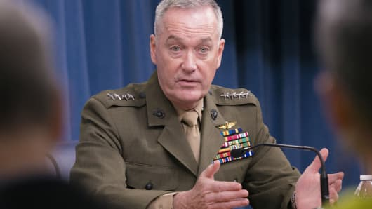 U.S. Marine Gen. Joseph Dunford, chairman of the Joint Chiefs of Staff, answers questions during a press conference at the Pentagon.