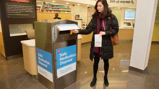Walgreens has installed 600 drug disposal kiosks to its stores since 2016. It's partnering with AmerisourceBergen, the Blue Cross Blue Shield Association, Pfizer and Prime Therapeutics to add 900 more.