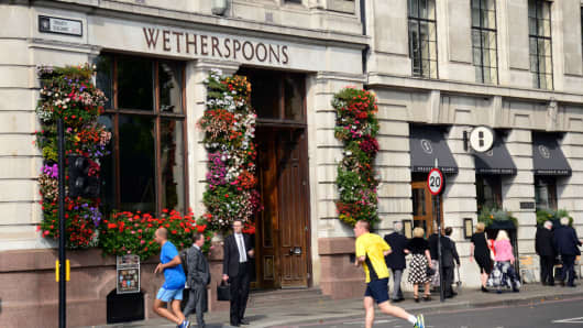 A Wetherspoons pub in central London in September 2017