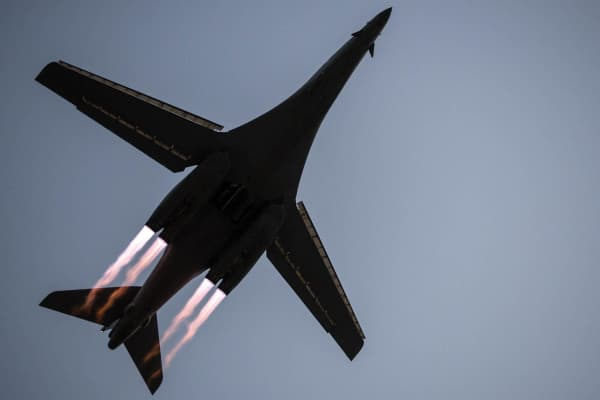 A B-1B Lancer takes off from Al Udeid Air Base, Qatar, to conduct combat operations on April 8, 2015.