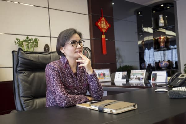 Zhou Qunfei in her office at Lens Technology.