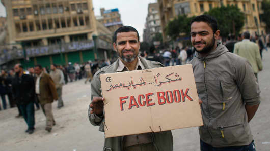Facebook was among the social media tools that proved influential during the anti-government protests in Tahrir Square in Cairo, Egypt, and during other Arab Spring uprisings in 2011.