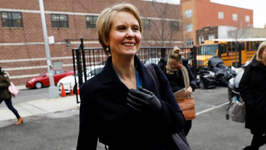 Actress Cynthia Nixon arrives at campaign stop to announce she is running for Governor of New York in Brooklyn, New York, March 20, 2018.
