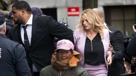 Adult film actress Stormy Daniels (Stephanie Clifford) arrives at the United States District Court Southern District of New York for a hearing related to Michael Cohen, President Trump's longtime personal attorney and confidante, April 16, 2018 in New York City.