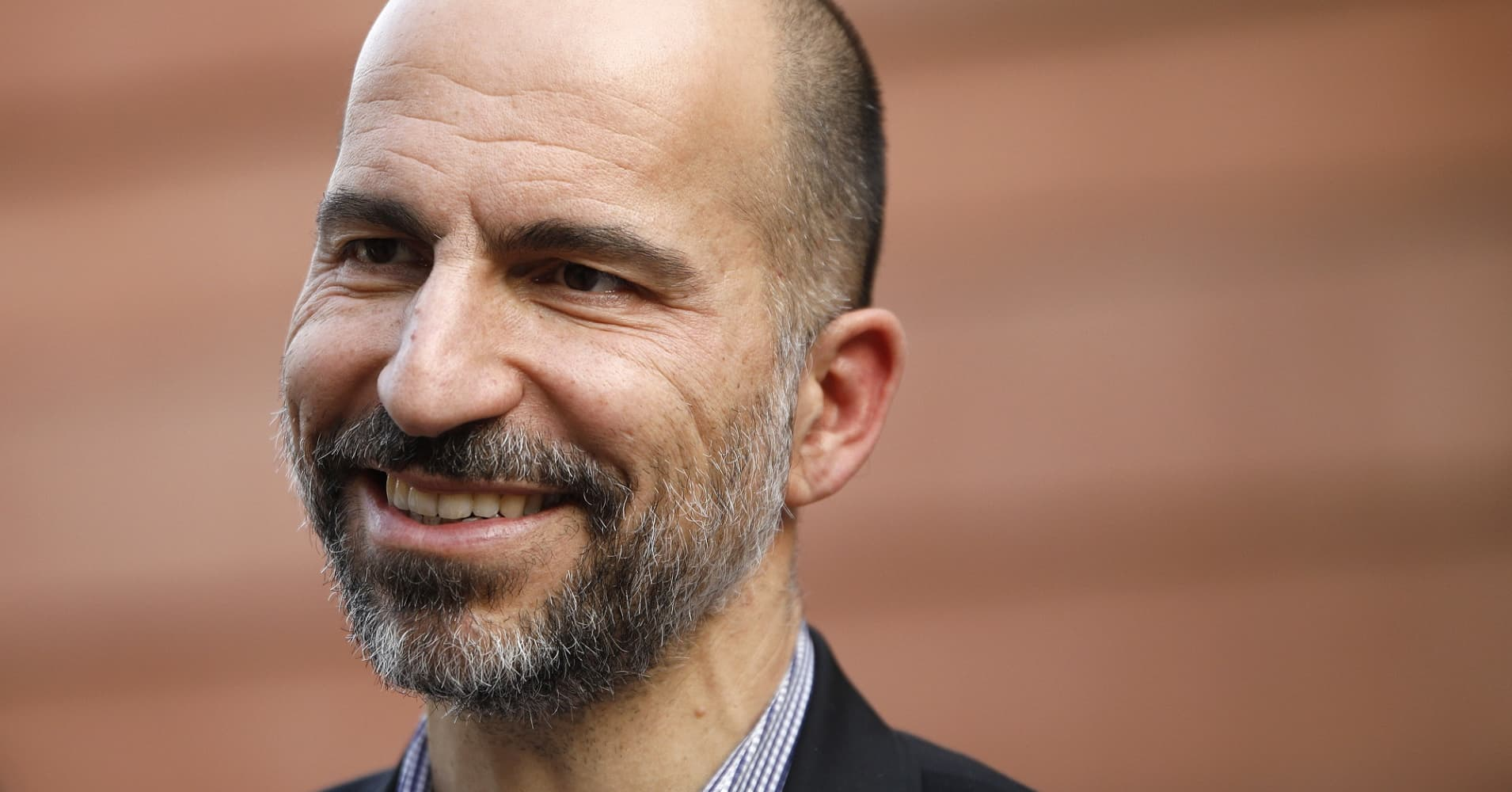 Dara Khosrowshahi, chief executive officer of Uber, looks on following a 2018 event in New Delhi, India.
