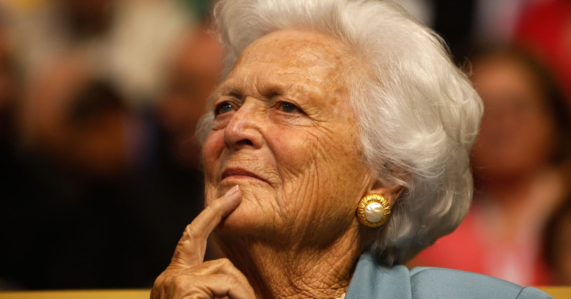 Former first lady Barbara Bush attends day two of the Republican National Convention (RNC) at the Xcel Energy Center on September 2, 2008 in St. Paul, Minnesota. The GOP will nominate U.S. Sen. John McCain (R-AZ) as the Republican choice for U.S. President on the last day of the convention.