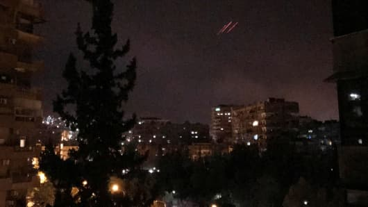 Anti-aircraft fire is seen over Damascus,Syria early April 14, 2018.