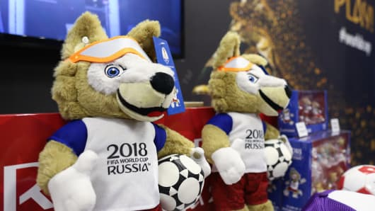 Mascots for sale ahead of the 2018 Russia World Cup