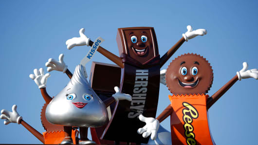 Hershey Co. candy mascots stand outside of the company's Chocolate World visitor center in Hershey, Pennsylvania.