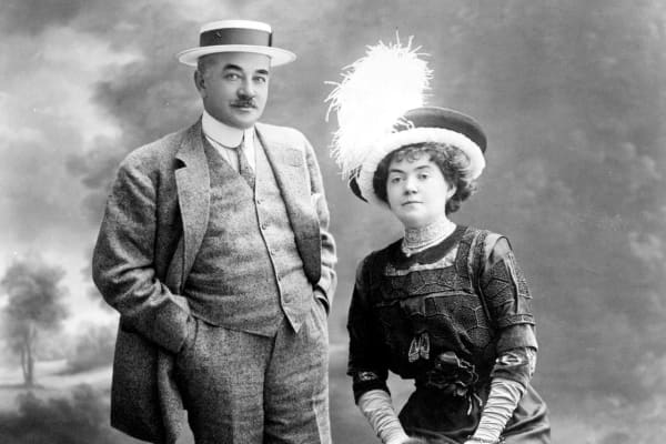 Chocolate magnate Milton S. Hershey and Catherine Hershey pose for a formal studio portrait taken in Nice, France in 1910.
