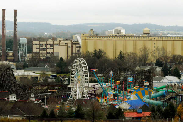 The original Hershey Co. chocolate manufacturing plant and Hershey Park Entertainment facility, foreground, in Hershey, Pennsylvania on Wednesday, Nov. 25, 2009.