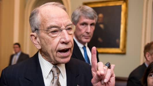 Sen. Chuck Grassley, R-Iowa, speaks with reporters