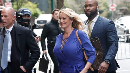 Adult-film actress Stephanie Clifford, also known as Stormy Daniels, arrives at ABC studios with her attorney Michael Avenatti (L) to appear on The View talk show in New York City, New York, U.S. April 17, 2018.
