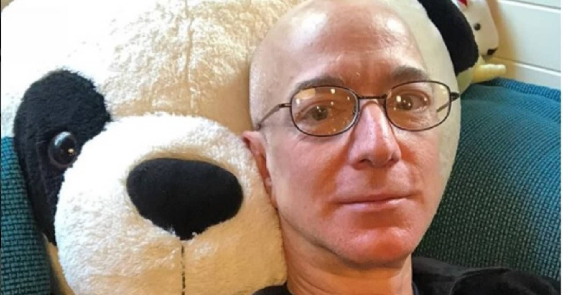 Jeff Bezos posted a picture of himself lounging on his kids' stuffed panda bear on his personal Instagram page.