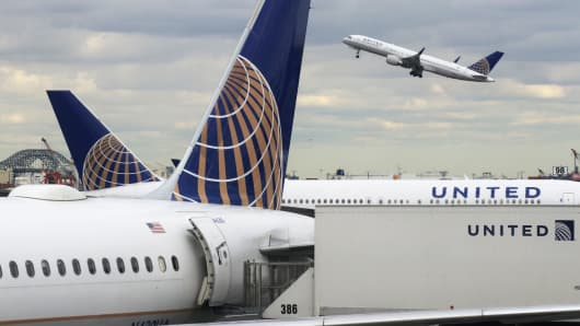 A United Airlines airplane takes off at Newark Liberty Airport.