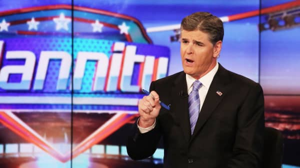 "Host Sean Hannity on set of FOX's ""Hannity With Sean Hannity"" at FOX Studios."