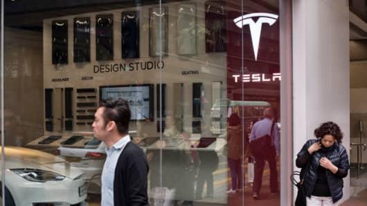 A Tesla Motors official store showroom in Wan Chai, Hong Kong on April 7, 2018.