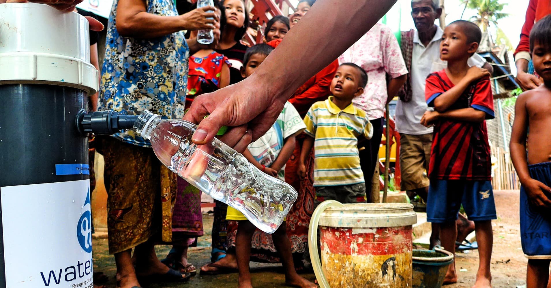 WateRoam's water filtration system providing clean water to a remote village in Southeast Asia