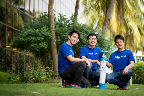 WateRoam's co-founders Lim Chong Tee, Vincent Loka and David Pong