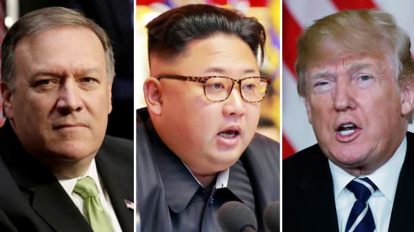 From L-R: CIA Director Mike Pompeo, North Korean leader Kim Jong Un and President Donald Trump.