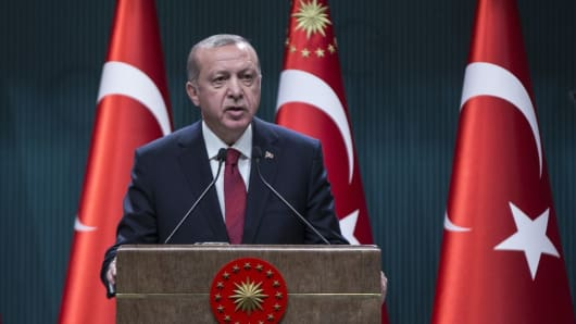 Turkish President Recep Tayyip Erdogan speaks during a press conference at the Presidential Complex in Ankara, Turkey on April 18, 2018.