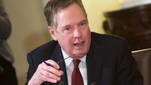 U.S. Trade Representative Robert Lighthizer speaks during a meeting on trade held by U.S. President Donald Trump with governors and members of Congress at the White House on April 12, 2018 in Washington, DC.