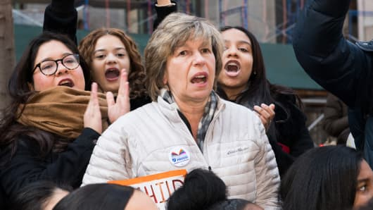 American Federation of Teachers President Randi Weingarten at the National School Walkout, a 17 minute walkout by students in honor of the 17 people who died one month ago in the shooting at Marjory Stoneman Douglas High School in Florida and a protest for stricter gun laws.