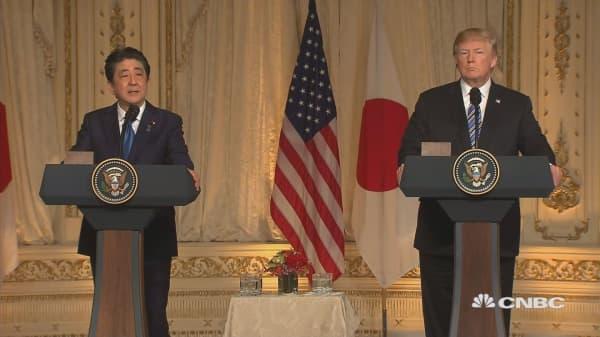 Trump praises Japan PM for work on North Korea