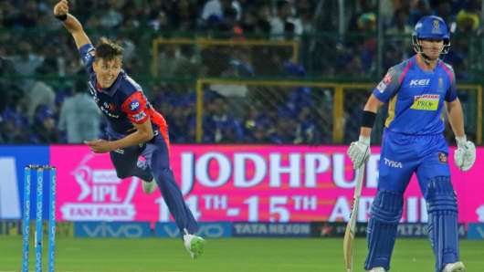 Delhi Daredevils bowler Trent Boult bowls during an IPL cricket match against the Rajasthan Royals.