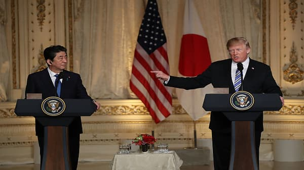 Trump and Shinzo Abe exchange warm words but no trade deal