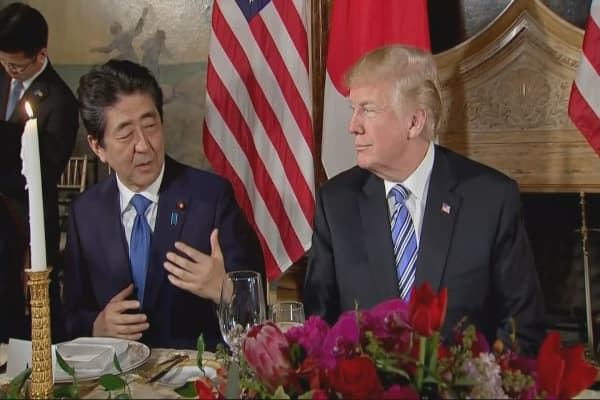 Trump and Shinzo Abe agree to step up trade talks