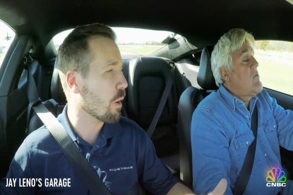 Jay Leno takes the latest Mustang Bullitt for a joy ride