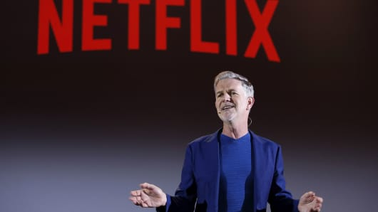 Reed Hastings attends Reed Hastings panel during Netflix 'See What's Next' event at Villa Miani on April 18, 2018 in Rome, Italy.