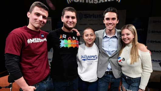 Marjory Stoneman Douglas High School Students and activists (L-R) Cameron Kasky, Alex Wind, Emma Gonzalez, David Hogg, and Jaclyn Corin at SiriusXM Studio on March 23, 2018 in Washington, DC.