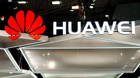 Huawei logo during the Mobile World Congress day 4, on March 1, 2018 in Barcelona, Spain.