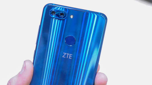 New ZTE Blade V9 at ZTE stand during the Mobile World Congress Day 2 on February 27, 2018 in Barcelona, Spain.