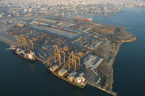Drone images of The Port of Thessaloniki one of the Largest Greek seaports with annual traffic capacity of 16 million tonnes. It is a major gateway for the Balkans and southeast Europe. There are warehouses, container terminal, cargo terminal, oil and gas terminal. The port also has a passenger terminal.