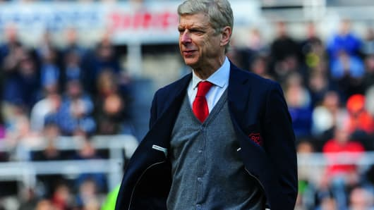 Arsenal Manager Arsene Wenger during a Premier League match between Newcastle United and Arsenal at St.James' Park on April 15, 2018, in Newcastle upon Tyne, England.