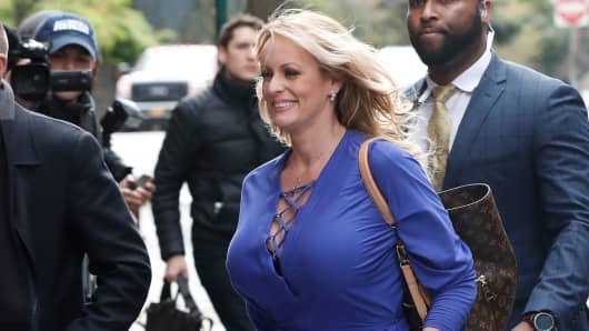 Adult-film actress Stephanie Clifford, also known as Stormy Daniels, arrives at a television studio in New York, April 17, 2018.