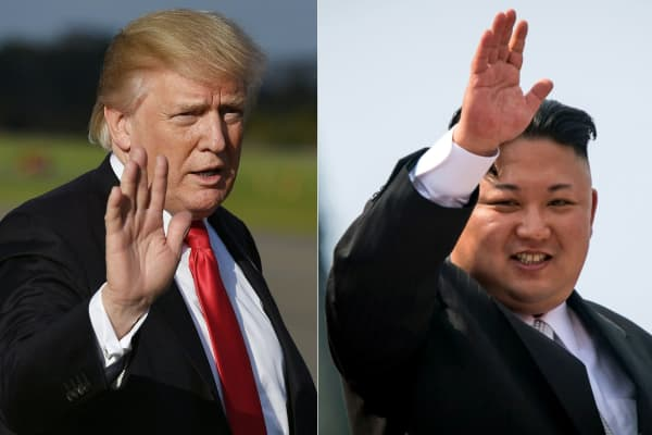 This combination of pictures US President Donald Trump  and North Korean leader Kim Jong-Un.