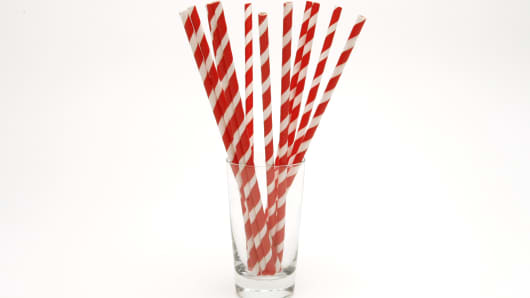 The design studio Kikkerland designed these festive paper straws that can be tossed in a home composter after a party. They come in a box of 144 and can be purchased for under $10.