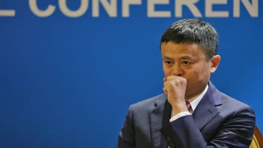 Jack Ma reacts during a session at the Boao Forum for Asia Annual Conference 2018 on April 9, 2018 in Boao, China.
