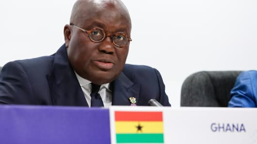 Nana Akufo-Addo, president of Ghana, speaks at a press conference during the Commonwealth Heads of Government Meeting in London, England, on April 20, 2018.